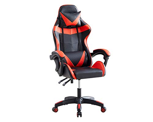 DS. DISTINCTIVE STYLE Gaming Chair Office Chair Ergonomic Backrest and Seat Height Adjustment Recliner Swivel Rocker with Headrest and Lumbar Pillow - Red
