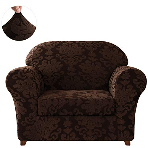 CHUN YI 2-Piece Stretch Jacquard Damask Elegant Collection Chair Loveseat Sofa Slipcover Easy Fitted Couch Cover Stretchable Durable Furniture Protector (Small, Chocolate)