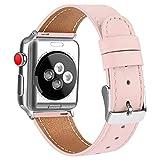 AK Bracelet Compatible pour Bracelet Apple Watch 38mm 40mm,Cuir de Grain Double Tour Remplacement Compatible pour iWatch Série...