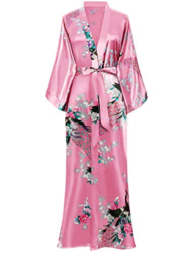 BABEYOND Women's Kimono Robe Long Robes with Peacock and Blossoms Printed 1920s Kimono Nightgown (Watermelonred)