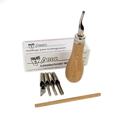 American Educational Products A-120100 ABIG Lino Cutting Tool Set with 6 Blades, Plastic Storage Box and Nib Compartment