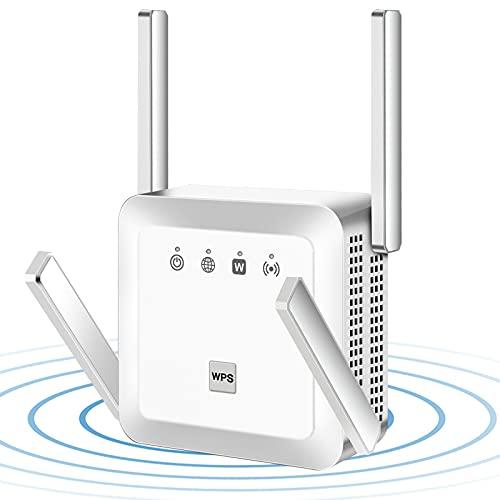 INMUA Ripetitore WiFi Wireless, 1200 Mbps WiFi Extender, velocità Dual Band 2.4GHz/5GHz Amplificatore Segnale Wi-Fi,Supporta la modalità AP/Ripetitore Mode,4 Antenna(Bianca)