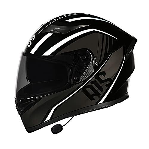 BDTOT Casco de Moto Modular Integrado con Bluetooth Cascos Flip Up Motocicleta Dot/ECER 22-05 Aprobado Doble Visera Anti Niebla HD Reducción de Ruido con Altavoz Incorporado para Adultos