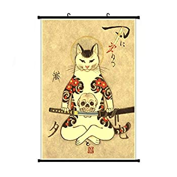 Fubuki A Wide Variety of Vintage Retro Japanese Samurai Cat Tattoo 7 Wall Scroll Hanging Decor  16x24 in 24x36 in