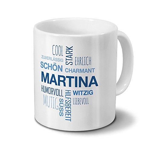 printplanet Tasse mit Namen Martina Positive Eigenschaften Tagcloud - Blau - Namenstasse, Kaffeebecher, Mug, Becher, Kaffeetasse