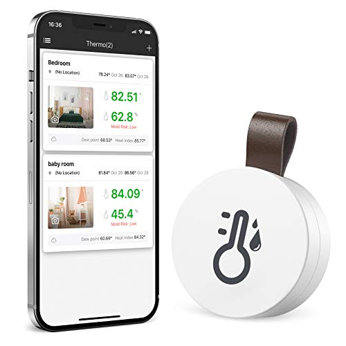 Brifit Kabelloses Thermometer Hygrometer, Mini Bluetooth Thermo Hygrometer mit Smart Sensor App, Thermometer Innen Hygrometer mit Hohen Genauigkeit, für Innenraum, Babyzimmer, Wohnzimmer, Büro
