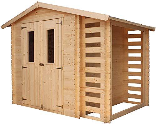 TIMBELA M386C Blockbohlen Gartenhaus aus Massiv-Holz + Kaminholzunterstand - aus 19 mm Kiefern- / Fichtenholz Blockbohlen, 256 x 200 cm/3,53+0,97 m²
