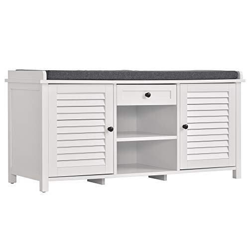 HOMCOM Modern Storage Bench Shoe Organizer Rack Cabinet with Drawer & Comfortable Cushion for Hallway & Entryway, White
