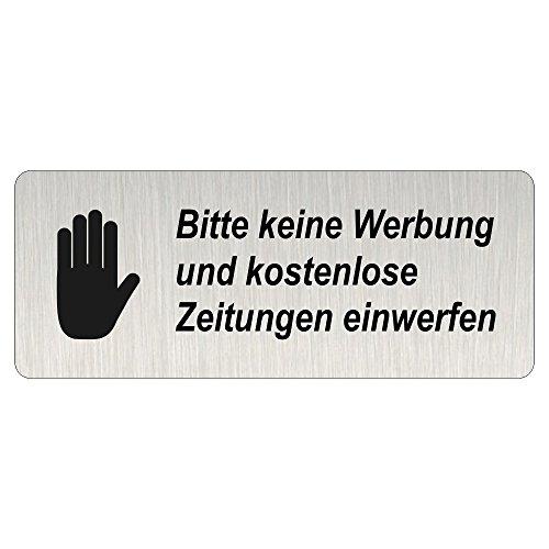 Briefkastenschild 'Bitte keine Werbung und kostenlosen Zeitungen einwerfen' 40 x 100 mm Edelstahl gebürstet Look - 100% UV Beständig