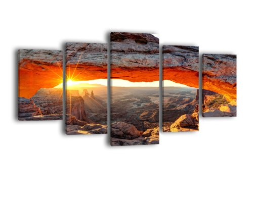 wandmotiv24 Leinwandbild Mesa Arch LW219 Wandbild, Bild auf Leinwand, 5 Teile, 210 x 100 cm, Kunstdruck Canvas, XXL Bilder, Keilrahmenbild, fertig aufgespannt, Bild, Holzrahmen, USA, Wüste, Utah
