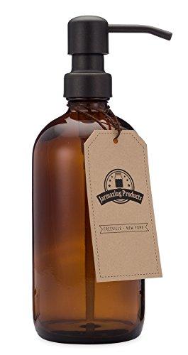 Jarmazing Products Bernsteinfarbene Glasflasche Seifen- und Lotionspender mit schwarz-Metallpumpe - 16 Oz (473 ml)