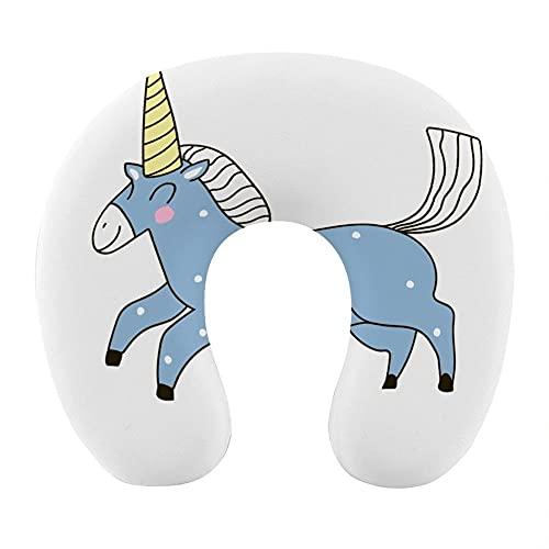 Almohada para Viaje Suave Viscoelastica 30x29x10 cm Almohada Viaje Cervical Transpirable Lavable Almohadas con Cremallera Relajarse Reposacabezas,Unicornio