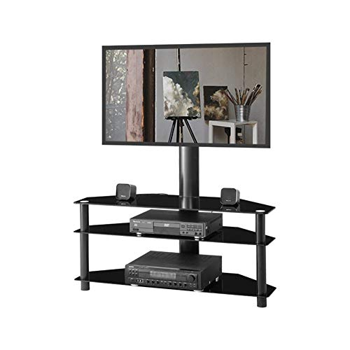 HYLY Multi-función Ajustable Vidrio Templado TV Soporte LCD TV Soporte De TV Bracket-Negro