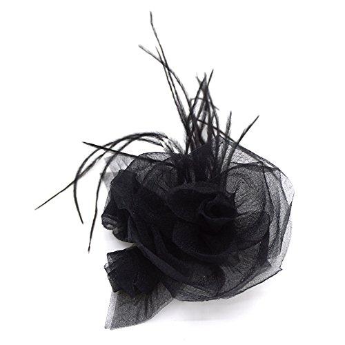 Spilla a forma di fiore nero in mussola e piuma.