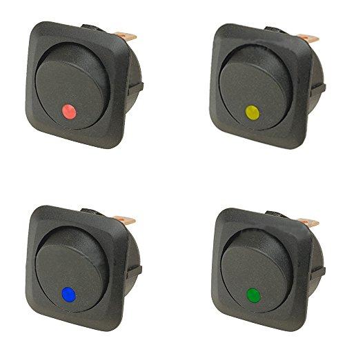 E Support™ 4 X 12 V 25 A Auto Interruttore a bilanciere On/Off Interruttore LED illuminato Blu Rosso Verde Giallo 25 mm