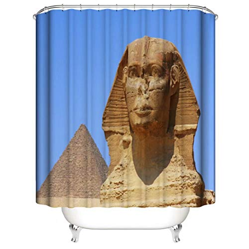 Home Decoration. Ancient Egyptian Sphinx. Shower Curtain: 180X180 Cm. 12 C-Shaped Hooks. 3D Hd Printing. Waterproof. Do Not Fade.