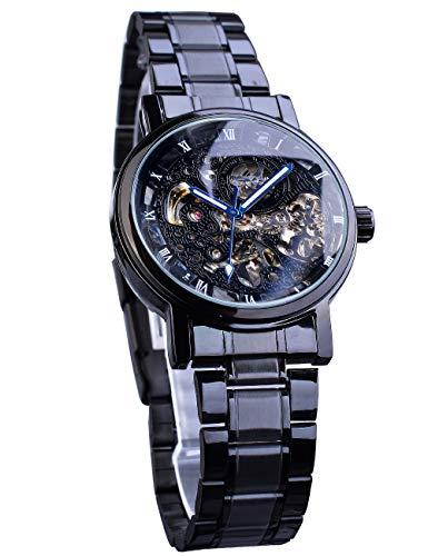 Winner Reloj de pulsera automático para hombre, esfera de esqueleto, manecillas azules, movimiento mecánico transparente, acero inoxidable, reloj masculino negro