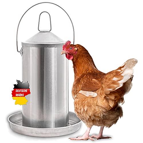 DESCENA® Hühnertränke Metall 4 Liter: Beheizbare Tränke Hühner I Hühner Tränke Edelstahl I Geflügeltränke zum Aufhängen I Vogeltränke für Tränkenwärmer / Heizplatte I Hühner Zubehör