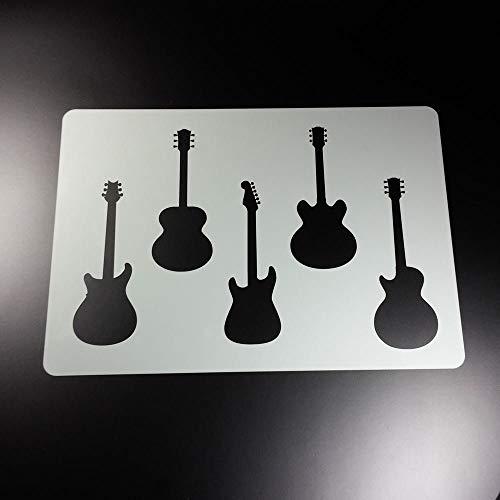 Schablone Gitarre Musik 5 Gitarren - BA89