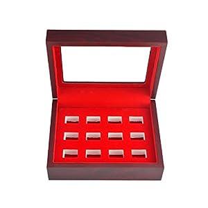 TIKIYOGI Championship Big Heavy Ring Display Case Wooden Jewelry Box Red Velvet Inside (12 holes)