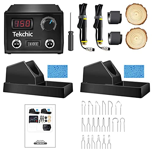 Professional Wood Burning Kit, TEKCHIC Pro1 Wood Burners for Wood Burning Pyrography with 20 Wire Nibs Tips Including Ball Tips