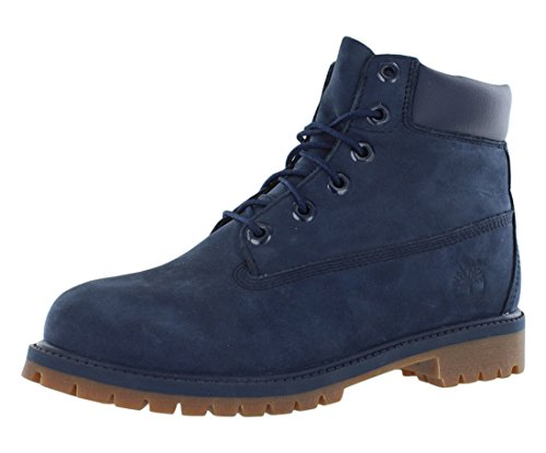 Timberland unisex-child 6 In Premium WP Boot Navy Nubuck Majority Leather with Synthetic 7M