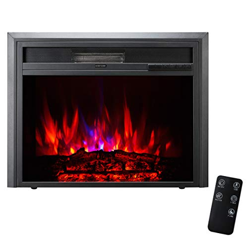 TAGI 26 inch Embedded Electric Fireplace Insert with Remote Control, Recessed Electric Stove Heater, Auto Over-Heat Kill Switch