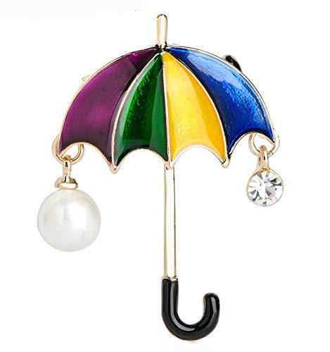 Onbekende broche paraplu kleurrijk met parel carnaval darth