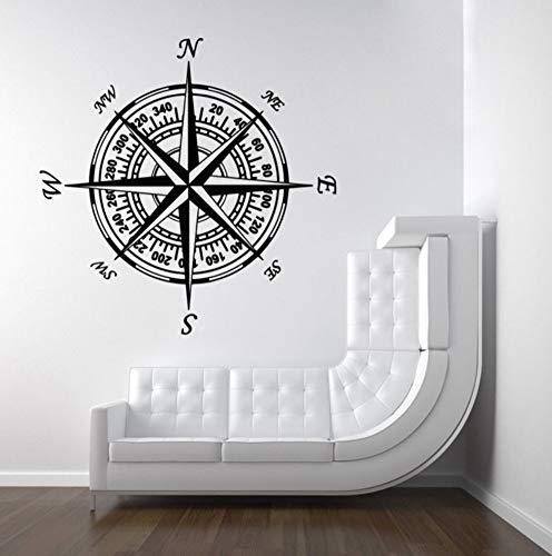 rylryl Brújula calcomanía de la pared náutica navegar vinilo etiqueta de la pared Kids Room Nursery decoración del hogar extraíble brújula Wallpaper 57x57 cm