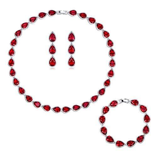 Gulicx - juego de joyería de fiesta: collar/pulsera y pendientes colgantes de tono plateado para mujer, con gema roja de circonita cúbica.