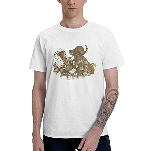 COOTHING Holly Holly Hobbie Blue Mens Novelty Simple Printed Basic Light Weight White Short Sleeve Tshirts Apparel