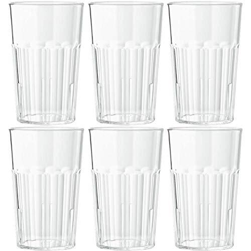 Viva Haushaltswaren - 6 x bruchfestes Longdrinkglas 400 ml, Wassergläser Set aus hochwertigem Kunststoff, edle Gläser für Camping, Partys (wie echtes Glas)
