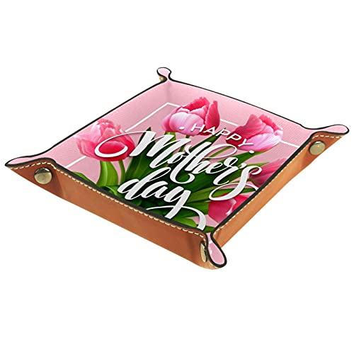 Bandeja de Valet, colector de Cuero de PU, Organizador de bandejas, Caja de Almacenamiento para Relojes Joyas Monedas Llavero Cartera Feliz día de la Madre corazón Floral