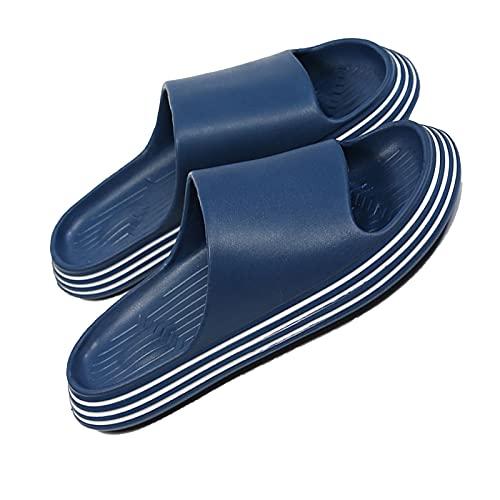 Zapatillas De Baño, Zapatillas para Mujer, Sandalias para Mujeres Y Hombres, Tacón De Masaje De Talón Elevado, Zapatillas para Hombre para El Baño Hower (Color : Blue, Size : EUR 44-45)