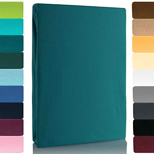 Lavea Jersey Spannbettlaken, Spannbetttuch, Premium Serie LEA, 120x200cm, Petrol, 100% gekämmte Baumwolle, hochwertige Verarbeitung, mit Gummizug und OekoTex100