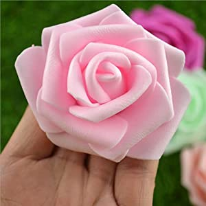 artificial stemless rose flower head, used for diy weddings, banquet tables, home decorations, (2.75 inches, light pink, 100 pcs per pack) silk flower arrangements