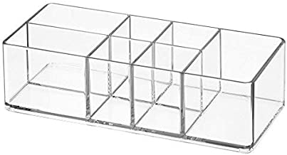 InterDesign Med+ Bathroom Organizer with Divided Compartments - Pack of 2, Clear