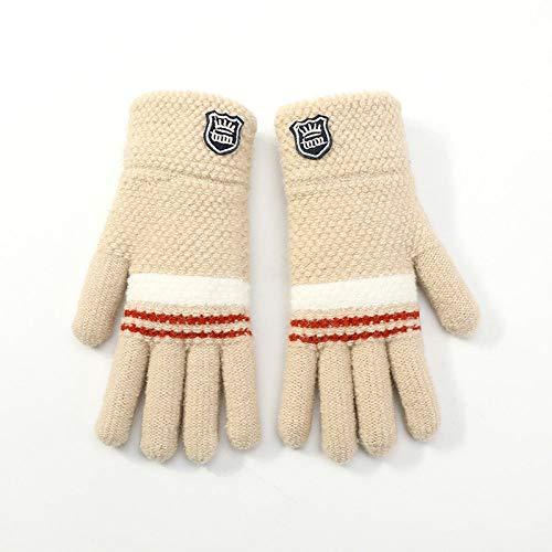 Gestrickte Handschuhe,Kinder Handschuhe Aus Gewirken Studenten Herbst Winter Einfach Warm Frostschutzmittel Plüsch Beige Handschuhe Für 6-12 Jahre