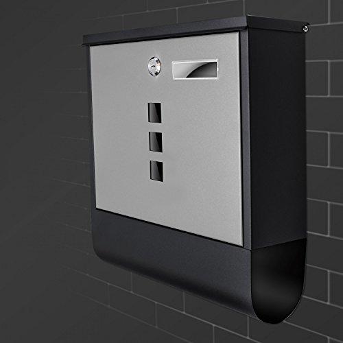 TÄGA 2217 Design Briefkasten anthrazit mit Zeitungsfach, Namensschild, Sichtfenster, Edelstahl pulverbeschichtet, abschließbar, 2 Schlüssel, Farbe: matt, anthrazit, grau - 7