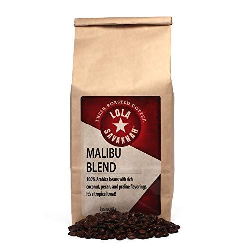 Lola Savannah Malibu Blend Whole Bean Coffee - Arabica Beans Uniquely Rich Flavors of Real Coconut, Pecan & Praline | Caffeinated | 2lb Bag