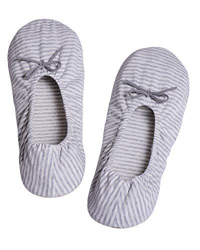 Panda Bros Women's Ballerina House Slippers,Anti-Skid Comfy Warm Ballet Style Slippers(Upgrade Gray,5-7.5)