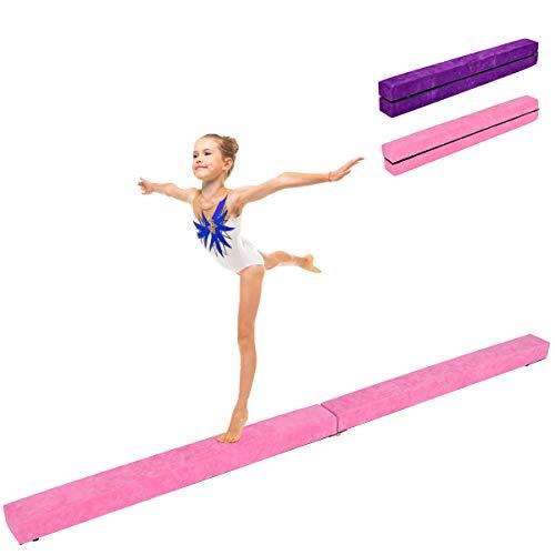 COSTWAY 210 cm Schwebebalken, Gymnastikbalken klappbar, Balance Beam bis 100KG belastbar, Gymnastik Balance Balken für Zuhause Turnen (Rosa)