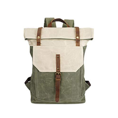 Floridivy Retro Heren Canvas Backpack waterdichte reistassen Grote tas, waterdichte reis Capacity Rugzak Leather Laptop Satchel