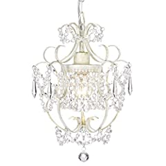 UPGRADED—EASY TO ASSEMBLE:This white chandelier has been improved by our engineers. 95% of it has been assembled. You only need to assemble one bracket. and connect a few crystals strings. MINI CRYSTAL CHANDELIER ELEVATE YOUR DÉCOR:Girls Room Chandel...