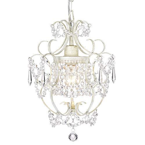 Mini Kristall Kronleuchter Weißer Pendelleuchte 1 Lampe Retro Hängeleuchte Lampenhalterung