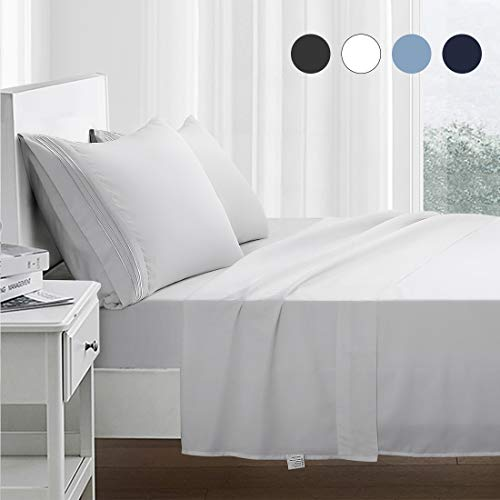 RYONGII Full Size Sheet Set - 4 Piece - Super Soft Microfiber Bed Sheets - Fade Resistant Hotel Luxury Bedding - Hypoallergenic – Wrinkle Resistant - Deep Pocket(White, Full)