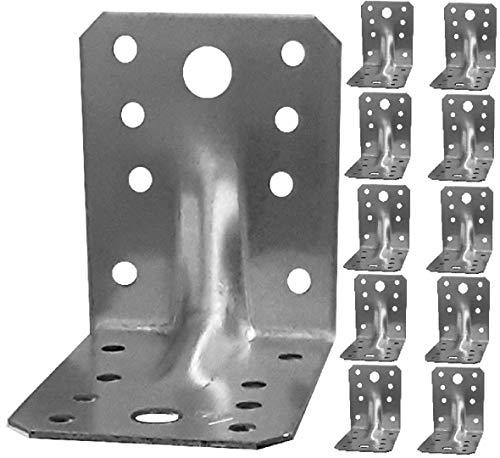 Soportes de esquina, ángulo de madera resistente, chapa de acero galvanizada 70 x 70 x 55 x 1,5 mm paquete de 10 unidades