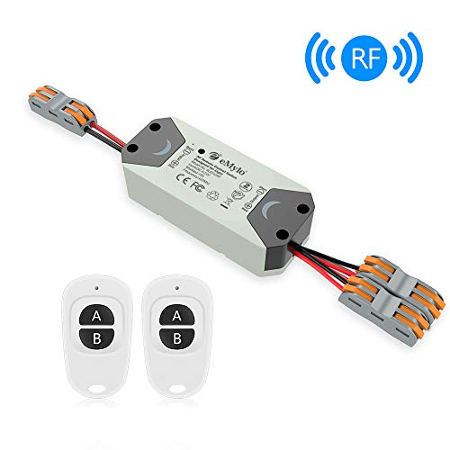 eMylo Smart Relaisschalter Wireless RF DC 12V Zwei 2-Kanal-Fernsteuerungsschalter 5V-24V HF-Relaisschalter Home Automation 433 MHz mit zwei Sendern 1 Packung