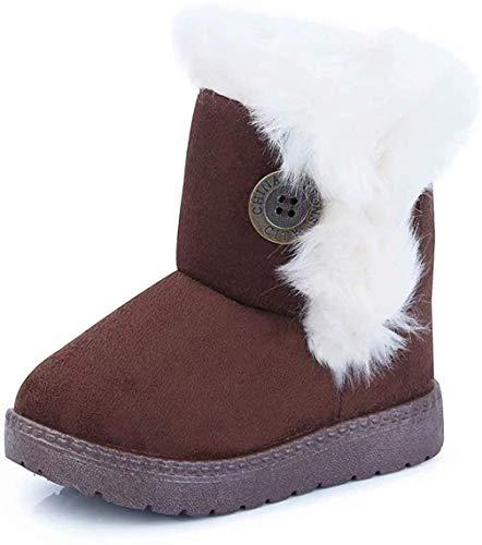 Vorgelen Botas de Nieve para Niños Invierno Felpa Botines Calentar Botas de Nieve Bebés Antideslizantes Zapatos Botas (Marrón - 31 EU = Etiqueta 32)