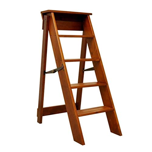 WYF-ZB 5 Steps Ladder Stool Wood Portable Step Stools Chairs Climbing Folding Stepladder for Home and Office (Color : Wood Color)